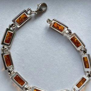 Jewelry - Genuine silver plated amber bracelet